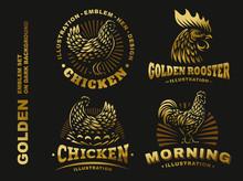 Set Golden Chicken Emblem On Dark Background