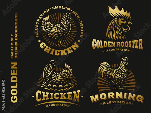 Set golden chicken emblem on dark background Fotobehang