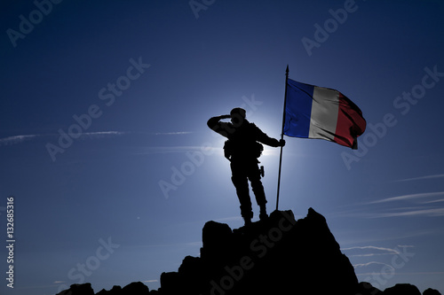 Fotografie, Obraz Soldier on top of the mountain with the French flag