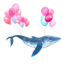 Watercolor Blue Whale Flying O...