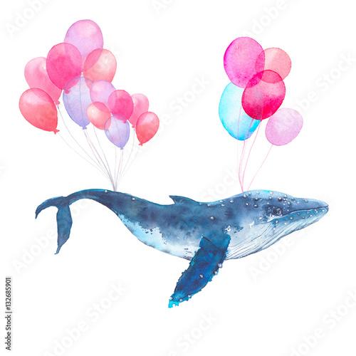 wieloryb-malowany-akwarela-z-rozowymi-balonami-na-bialym-tle