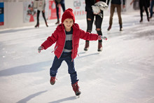 Happy Boy With Red Hat, Skatin...