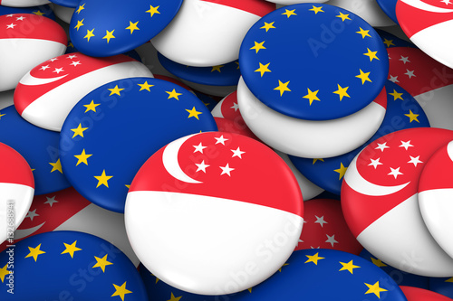 Singapore and Europe Badges Background - Pile of Singaporean and European Flag B Poster