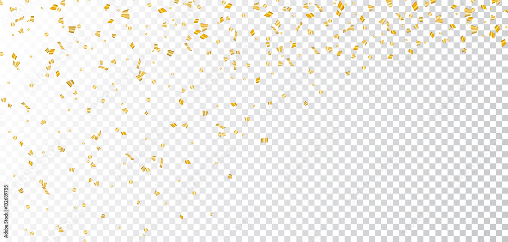 Fototapety, obrazy: Gold bright confetti on white transparent Christmas background. Golden decoration glitter abstract design of Happy New Year card, greeting, Xmas holiday celebrate banner. Vector illustration
