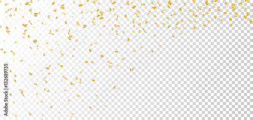 Obraz Gold bright confetti on white transparent Christmas background. Golden decoration glitter abstract design of Happy New Year card, greeting, Xmas holiday celebrate banner. Vector illustration - fototapety do salonu