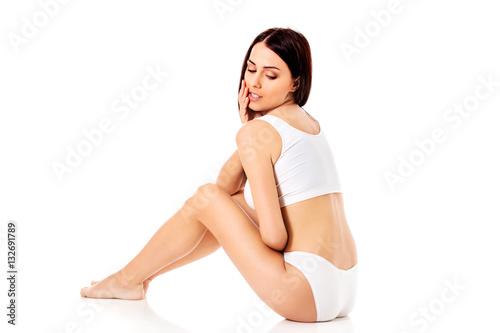 Fototapeta Young, sporty, fit and beautiful girl in sporty underwear. obraz na płótnie