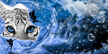 White Tiger And Fairies In The Ice Cave Photo Manipulation