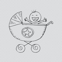 Baby Boy In Carriage. Doodle S...
