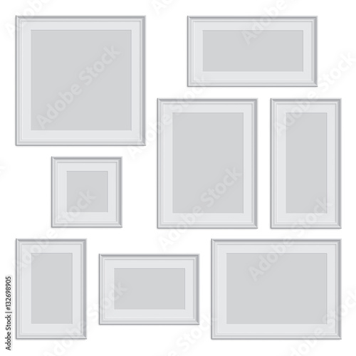 Vector white photo or picture frame in different proportions and ...