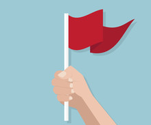Human Hand With Red Flag