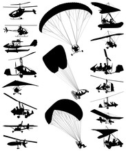 Autogyro And Ultralight Plane Vector Silhouette