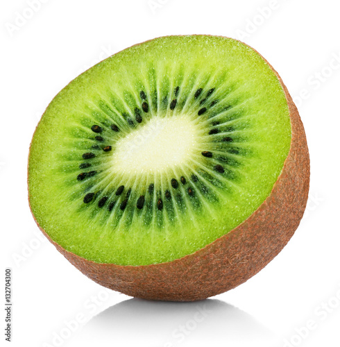 Single half of ripe juicy kiwi fruit isolated on white background