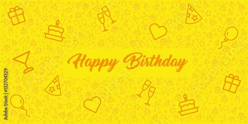 Photo  elegante und moderne Grußkarte zum Geburtstag mit Happy Birthday und Icons