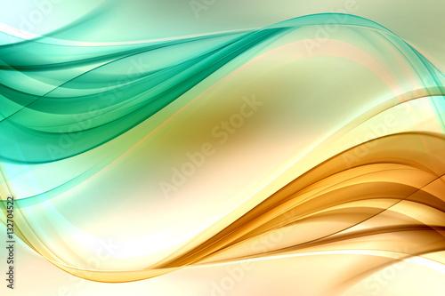 In de dag Fractal waves Gold Green Lines Design Background