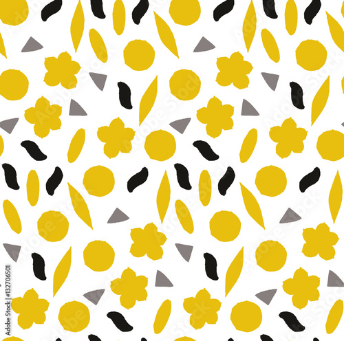 Cotton fabric Ornamental, traditional, simple seamless pattern with flowers. Cute print with dot in scandinavian style.