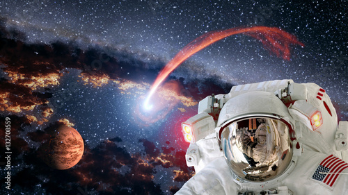 Deurstickers Nasa Astronaut planet Mars spaceman helmet comet space suit galaxy universe. Elements of this image furnished by NASA.