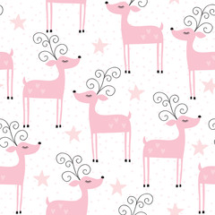 Fototapetaseamless reindeer pattern vector illustration