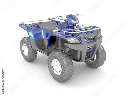 3D rendering blue black four-wheel motorcycle on a white background.