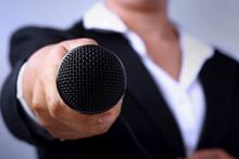 Journalist Making Speech With ...