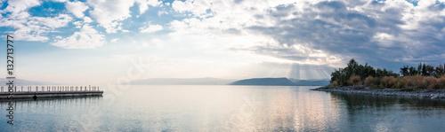 Valokuvatapetti Sunset on Lake Kinneret near the town of Tiberias