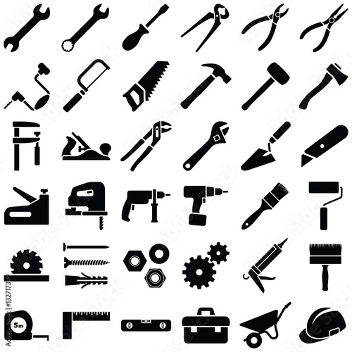 Fotografia  Construction tool icon collection - vector illustration