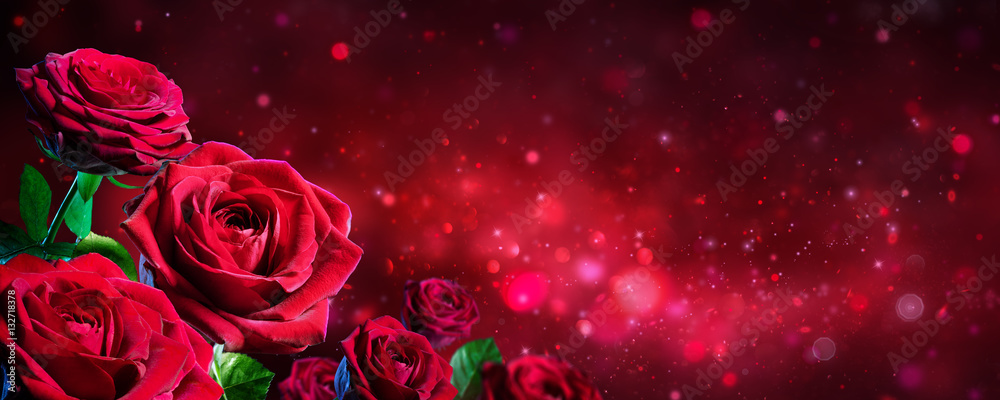 Fototapety, obrazy: Valentine Card - Bouquet Of Red Roses On Shiny Background