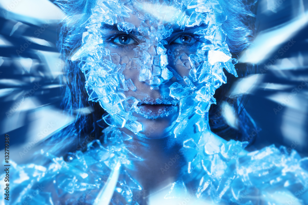 Fototapety, obrazy: Female face covered with a small pieces of glass