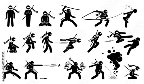 Fotomural Ninja assassin movement and fighting skills with Japanese weapon sword and shuriken to attack