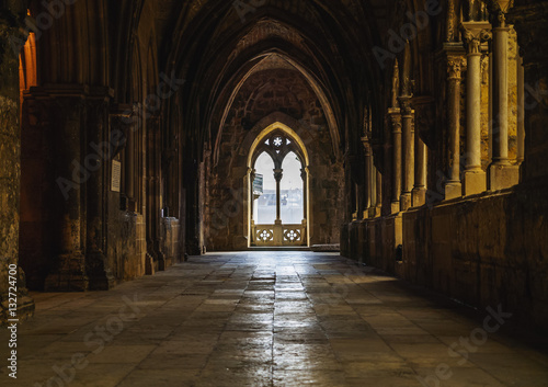 Portugal, Lisbon, Se Cathedral, Interior view of the gothic cloister Slika na platnu