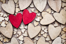 Wooden Hearts, One Red Heart O...