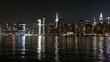 Manhattan Skyline and East River at Night, view from Long Island City, New York