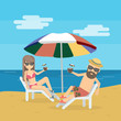 Couple at the beach on the chair with cocktails. Seashore vacation. Sunbathing and honeymoon.