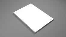 White A4 Paper Sheets On Gray Background. High Resolution 3d Render. Personal Branding Mockup Template. Soft Shadow.