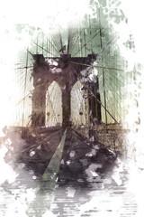 FototapetaArtistic sketch of Brooklyn Bridge at sunset