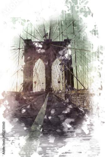 Artistic sketch of Brooklyn Bridge at sunset - 132730360