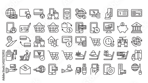 Fototapeta Online payments icons set on white background. Money, tablet, basket and other icons. obraz
