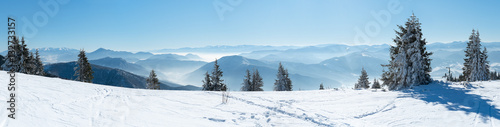 Panoramic View Snow Capped Mountains, European Beautiful Winter Mountains.Slope For Skiers, Alpine Mountains, Landscape For Cross Country Skiers, Beautiful Winter Mountain Landscape
