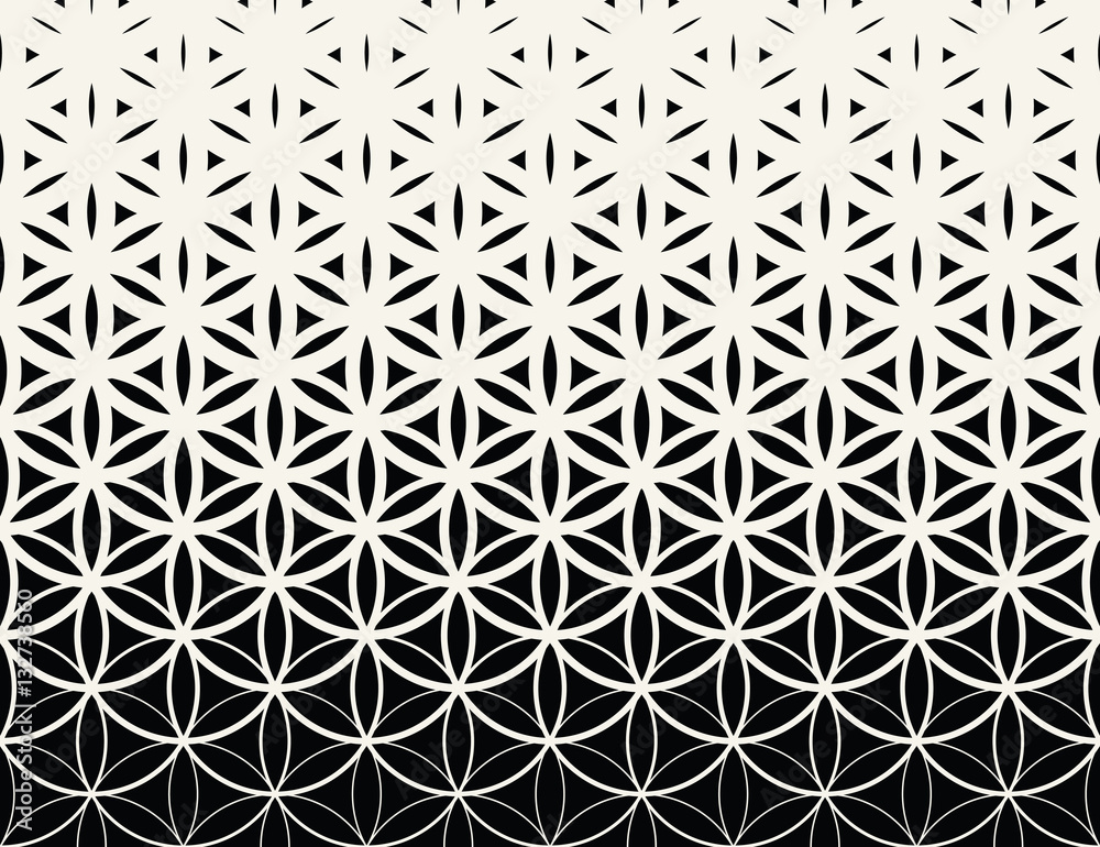 Fototapeta Abstract sacred geometry black and white gradient flower of life halftone  pattern