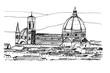 Panorama miasta Florencja. Rysunek ręcznie rysowany na białym tle.