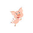 Funny little pig with swirling tail running or jumping on rear legs, cartoon vector illustration isolated on white background. Cute little pig hurrying to something, decoration element