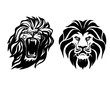 Lion head. Logotype of vector template. Creative illustration.