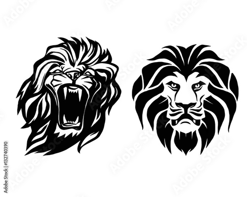 Fotografía  Lion head. Logotype of vector template. Creative illustration.