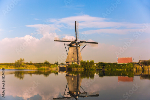 Traditional dutch windmills in countryside at Kinderdijk, Rotter Canvas Print