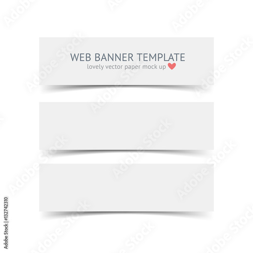 White Horizontal Paper Banners With Shadows Isolated On Background Realistic Vector Banner Template