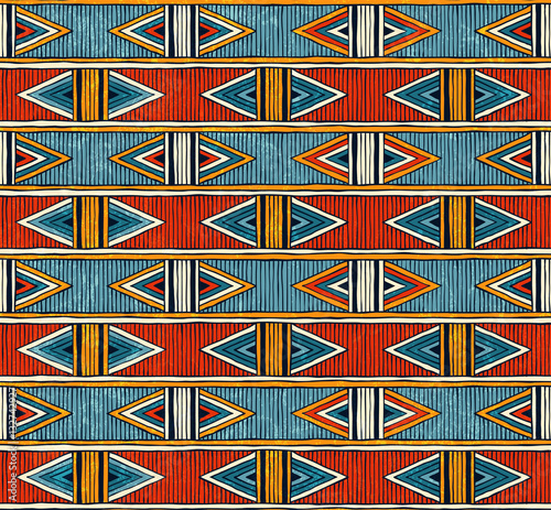 Fototapeta Tribal seamless pattern. Colorful abstract vector background.