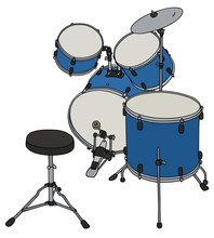 Hand Drawing Of Blue Drums