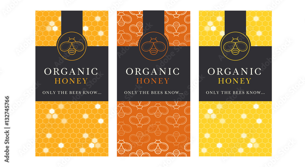 Fototapety, obrazy: Vector card template with honey bee emblems and seamless pattern.