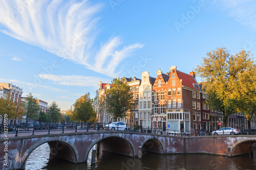 Bridge over canal in Amsterdams, The Netherlands Wallpaper Mural