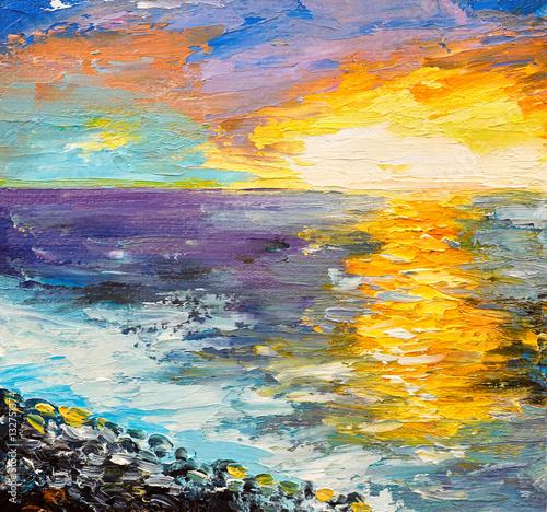 obraz-olejny-morza-zachod-slonca-na-wybrzezu-akwarela