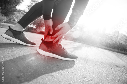 Broken twisted ankle - running sport injury Canvas Print